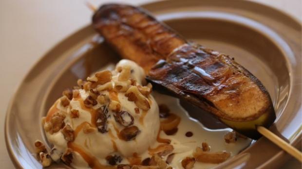 Grilled Banana Kebabs With Rum Raisin Ice Cream and Caramel Sauce ...